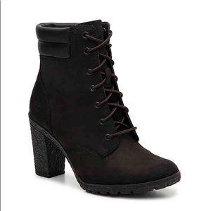 black timberland high heel boots
